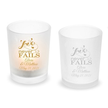 Love Never Fails Personalized Frosted Glass Votive