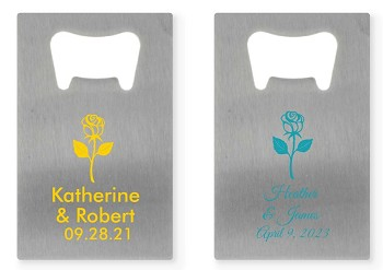 Rose Personalized Silver Credit Card Bottle Opener