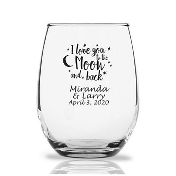 Personalized Stemless Wine Glasses 9 Oz - Love You To The Moon & Back