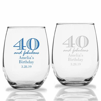 40 and Fabulous Personalized Stemless Wine Glass  (9 oz or 15 oz)