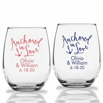 Anchor In Love Personalized Stemless Wine Glass (9 oz or 15 oz)