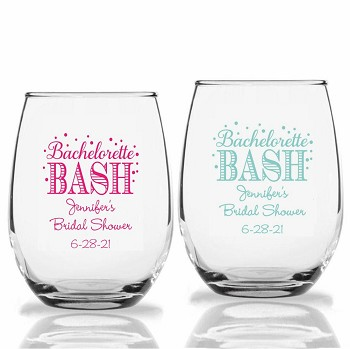 Bachelorette Party Bash Personalized Stemless Wine Glass (9 oz or 15 oz)