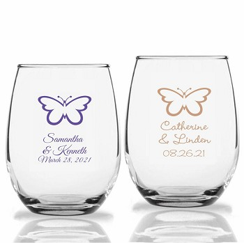 Butterfly Personalized Stemless Wine Glass (9 oz or 15 oz)