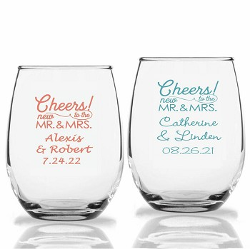 Cheers To The New Mr. & Mrs. Personalized Stemless Wine Glasses (9 oz or 15 oz)
