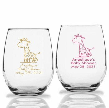 Baby Giraffe Personalized Stemless Wine Glasses (9 oz or 15 oz)