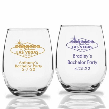Vegas Sign Personalized Stemless Wine Glasses (9 oz or 15 oz)