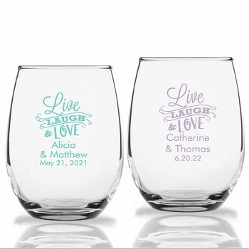 Live Laugh and Love Personalized Stemless Wine Glasses (9 oz or 15 oz)