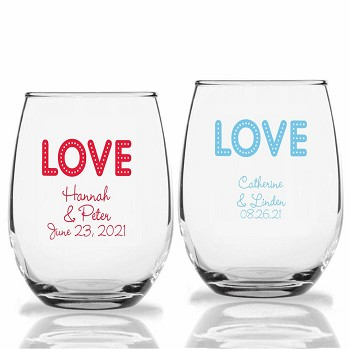 Love Lights Personalized Stemless Wine Glass (9 oz or 15 oz)