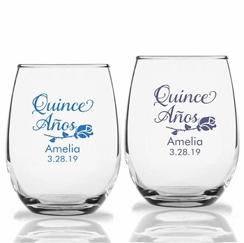 Quince Años Rose Personalized Stemless Wine Glass (9 oz or 15 oz)