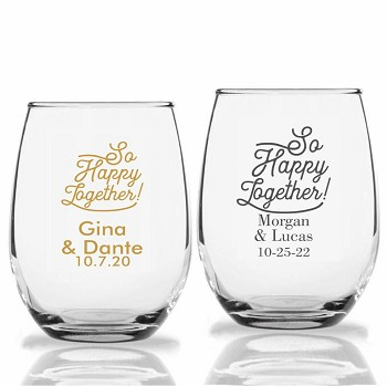 So Happy Together Personalized Stemless Wine Glasses (9 oz or 15 oz)