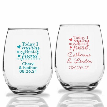 Today I Marry My Best Friend Personalized Stemless Wine Glasses (9 oz or 15 oz)