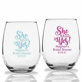 She Said Yes Personalized Stemless Wine Glass (9 oz or 15 oz)